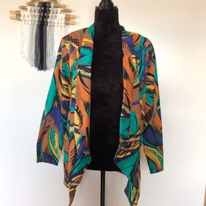 Vintage ILGWU  Jacket 80s Open Front Cotton Blazer